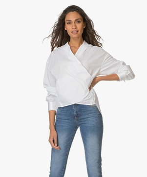 Rag & Bone Cotton Wrap Blouse Nadine - White