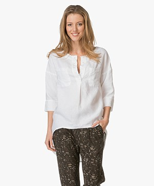 Josephine & Co Elise Linnen Tuniekblouse - Wit
