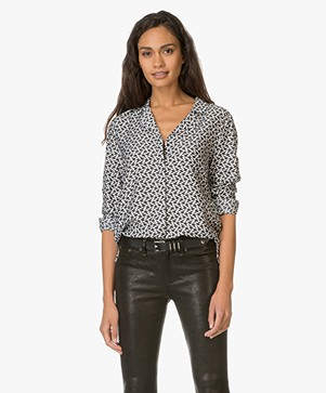 HUGO Printed Silk Blend Blouse Emalyn - Black/White