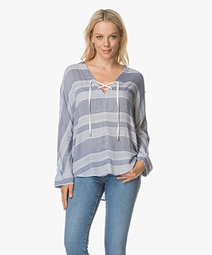 Rails Lily Blouse with Lace-up Front - Athens Stripe