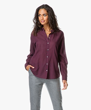 Closed Cotton Voile Blouse with Cashmere