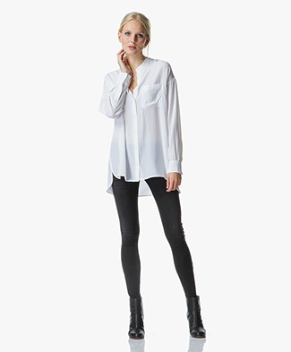 Equipment Melodie Long Silk Tunic Blouse - Bright White