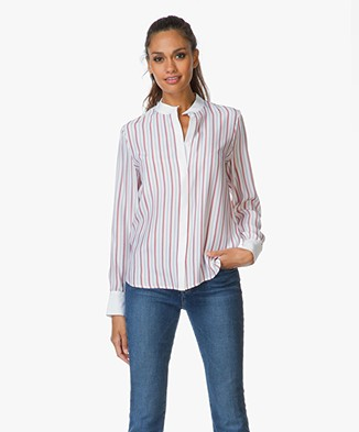Frame Le Classic Gestreepte Blouse - Wit/Navy/Rood