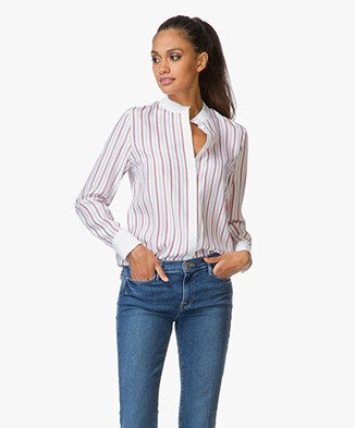 Frame Le Classic Striped Blouse - White/Navy/Red
