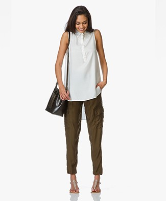 Denham Surplus Sleeveless Long Blouse - Cloud White