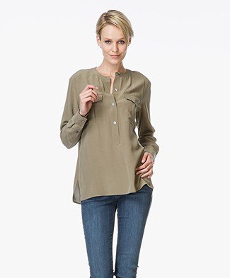 Theory Damaris Silk Blouse - Moss