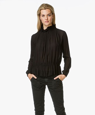 Ba&sh Jagger Blouse With Elasticated Collar  - Black