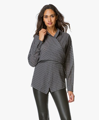 T by Alexander Wang Wrap Tie Blouse - Heather Grey
