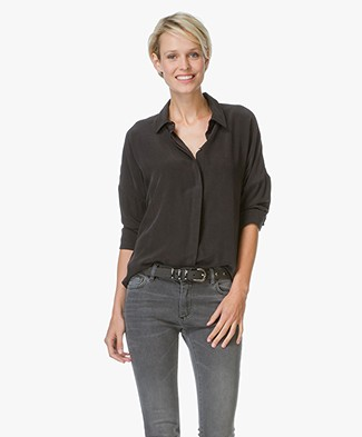 Anine Bing Drop Shoulder Silk Blouse - Black