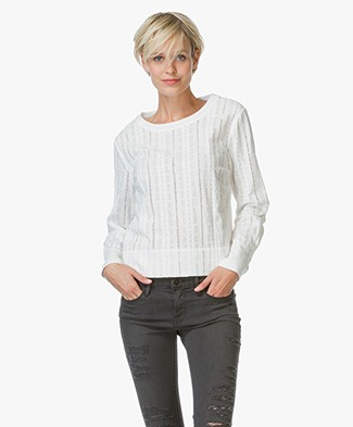 Frame Le Long Sleeve Lace Blouse - Off-white