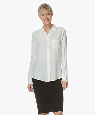 Equipment Brett Washed-silk Blouse - Nature White