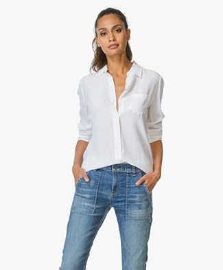 Equipment Brett Washed-silk Blouse - Bright White