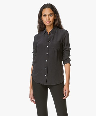 Equipment Brett Washed-silk Shirt - Black