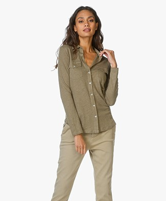 Majestic Jersey Blouse in Linen and Silk Blend