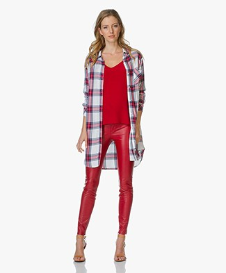 Rails Checked Tunic Blouse Bianca - White/Red/Navy