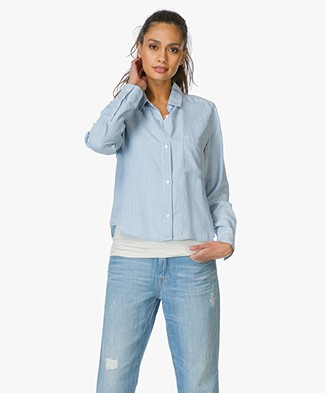 Rails Cropped Denim Blouse Dana -  White Sky Mini Stripe
