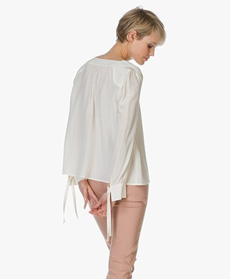 Ba&sh Blouse Lou in Pure Zijde - Off-white
