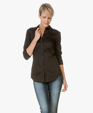 Drykorn Slim-fit Blouse Pira in Cotton - Black