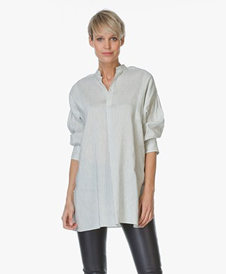 Joseph Phila Linen-silk Blend Blouse - Off-White/Black