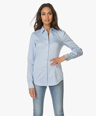 Drykorn Slim-fit Blouse Pira in Cotton - Light Blue