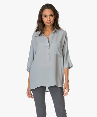 Repeat Silk Blouse with Cropped Sleeves - Lake