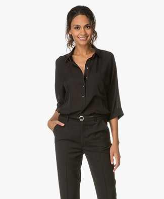 Repeat Silk Blouse with Cropped Sleeves - Black