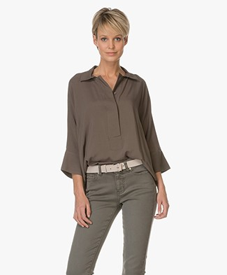 Repeat Woven Blouse - Olive