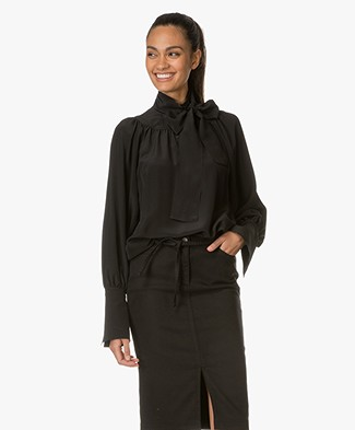 Drykorn Pinja Silk Bow Blouse - Black