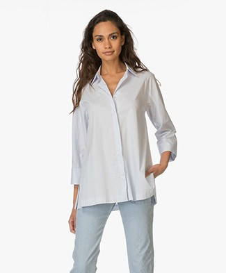 Repeat Cotton A-line Blouse - Water