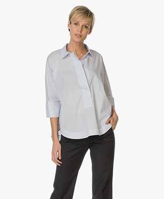 Repeat Cotton Blouse - Water