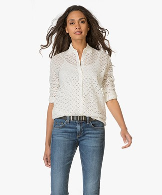 Majestic Broderie Anglaise Linen Blouse - Milk