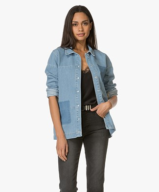 Anine Bing Denim Shirt - Washed Blue Denim