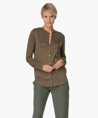 Majestic Silk Jersey Blouse - Militaire