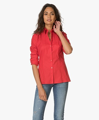 HUGO Etrixe Getailleerde Blouse - Bright Red