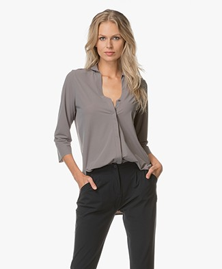 JapanTKY Yunak Rounded Collar Blouse - Grey