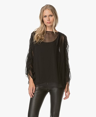 Sportmax Perry Silk-Chiffon Blouse with Top - Nero
