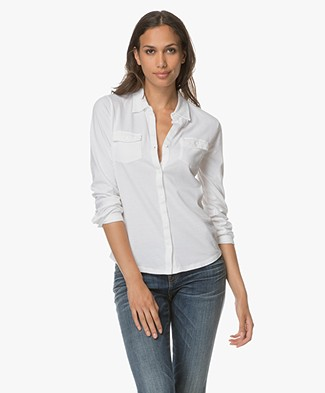 Majestic Jersey Pocket Blouse - Wit