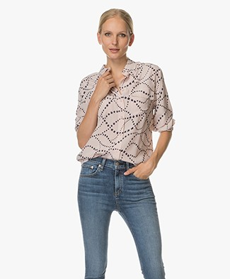 Equipment Signature Zijden Printblouse - Nostal Rose/ Atlan Deep