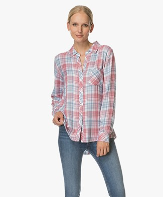 Rails Hunter Checkered Blouse - Rosewood/Sky