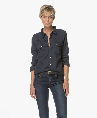 Ba&sh Bridget Denim Blouse - Bleu Nuit