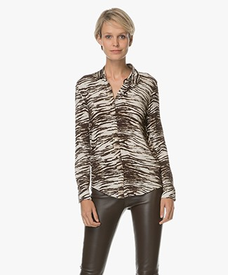 Majestic Jersey Tiger Print Blouse - Brown Tiger