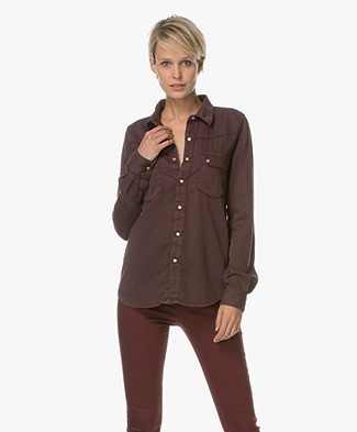 Ba&sh Bridget Denim Blouse - Bordeaux