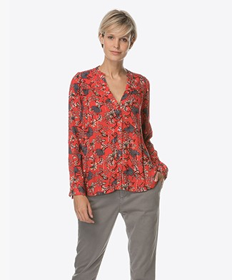 Ba&sh Edgy Blouse met Bloemenprint - Rouge