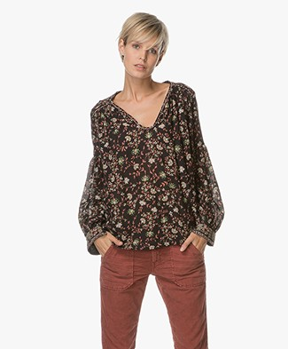 Ba&sh Feliz Blouse with Floral Print - Black
