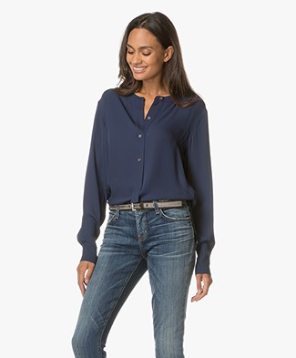 Theory Isalva Silk Blouse - Saphire Blue