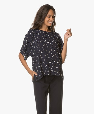 Closed Linnea Viscose Print Top - Navy