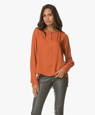 Theory Isalva Zijden Blouse - Pale Marmalade