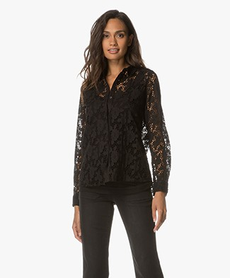 Ba&sh Augusta Crochet Lace Blouse - Black