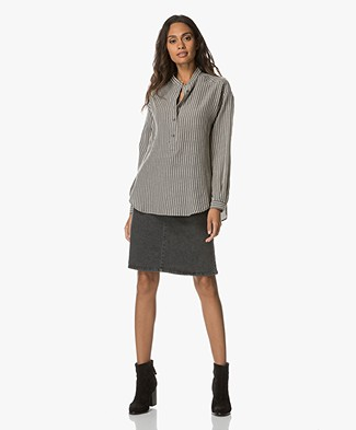 Closed Marian Gestreepte Blouse - Antraciet