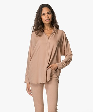 Repeat Pure Zijden Blouse - Camel